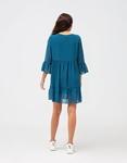 Εικόνα από Γυναικείο φόρεμα αέρινο με βολάν Μπλε