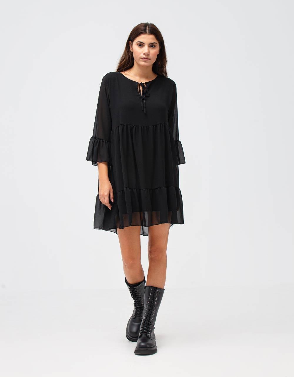 Εικόνα από Γυναικείο φόρεμα αέρινο με βολάν Μαύρο