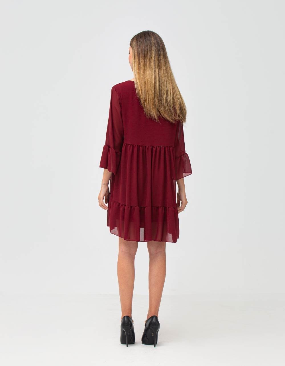 Εικόνα από Γυναικείο φόρεμα αέρινο με βολάν Μπορντώ