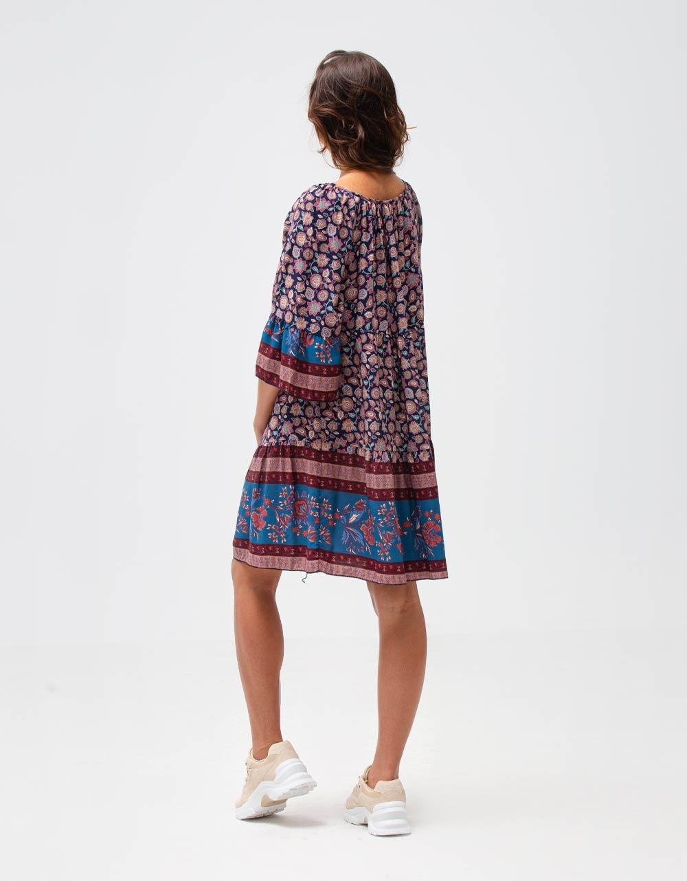 Εικόνα από Γυναικείο φόρεμα με βολάν Μπλε