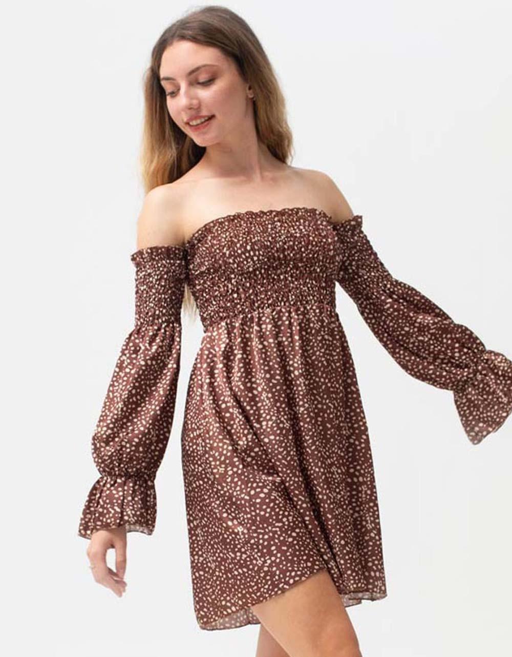 Εικόνα από Γυναικείο φόρεμα με σούρες Καφέ