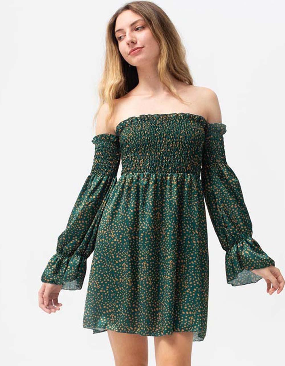 Εικόνα από Γυναικείο φόρεμα με σούρες Πράσινο