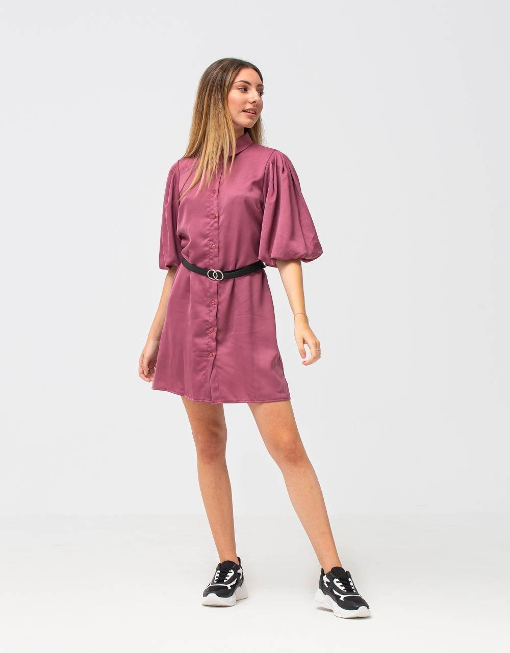Εικόνα από Γυναικείο φόρεμα σατέν με κουμπιά και ζωνάκι Ροζ