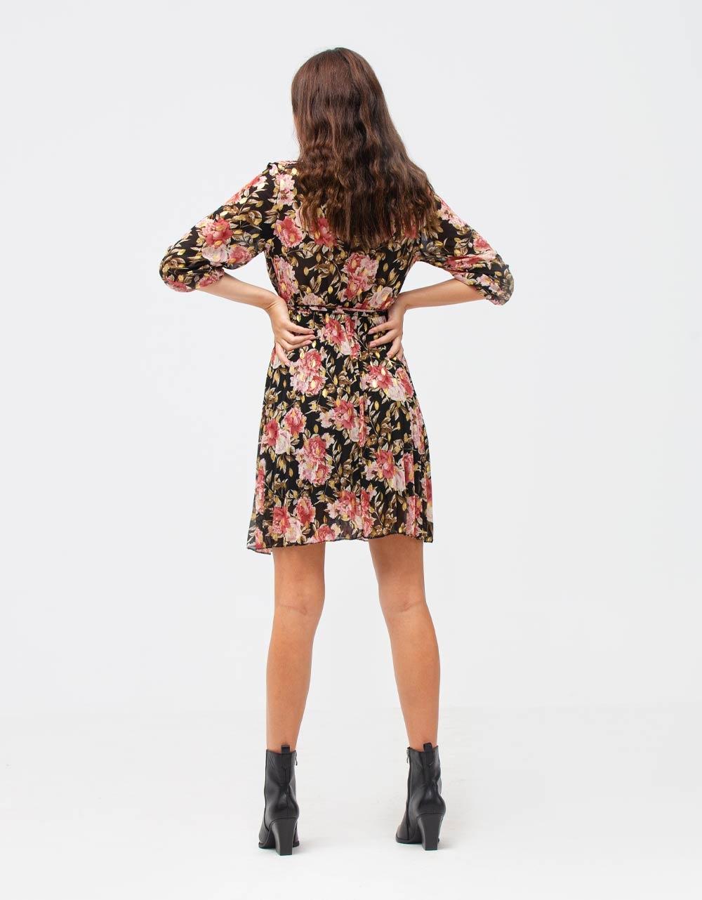 Εικόνα από Γυναικείο φόρεμα φλοράλ Μαύρο