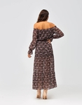 Εικόνα από Γυναικείο φόρεμα φλοράλ με βολάν Μαύρο