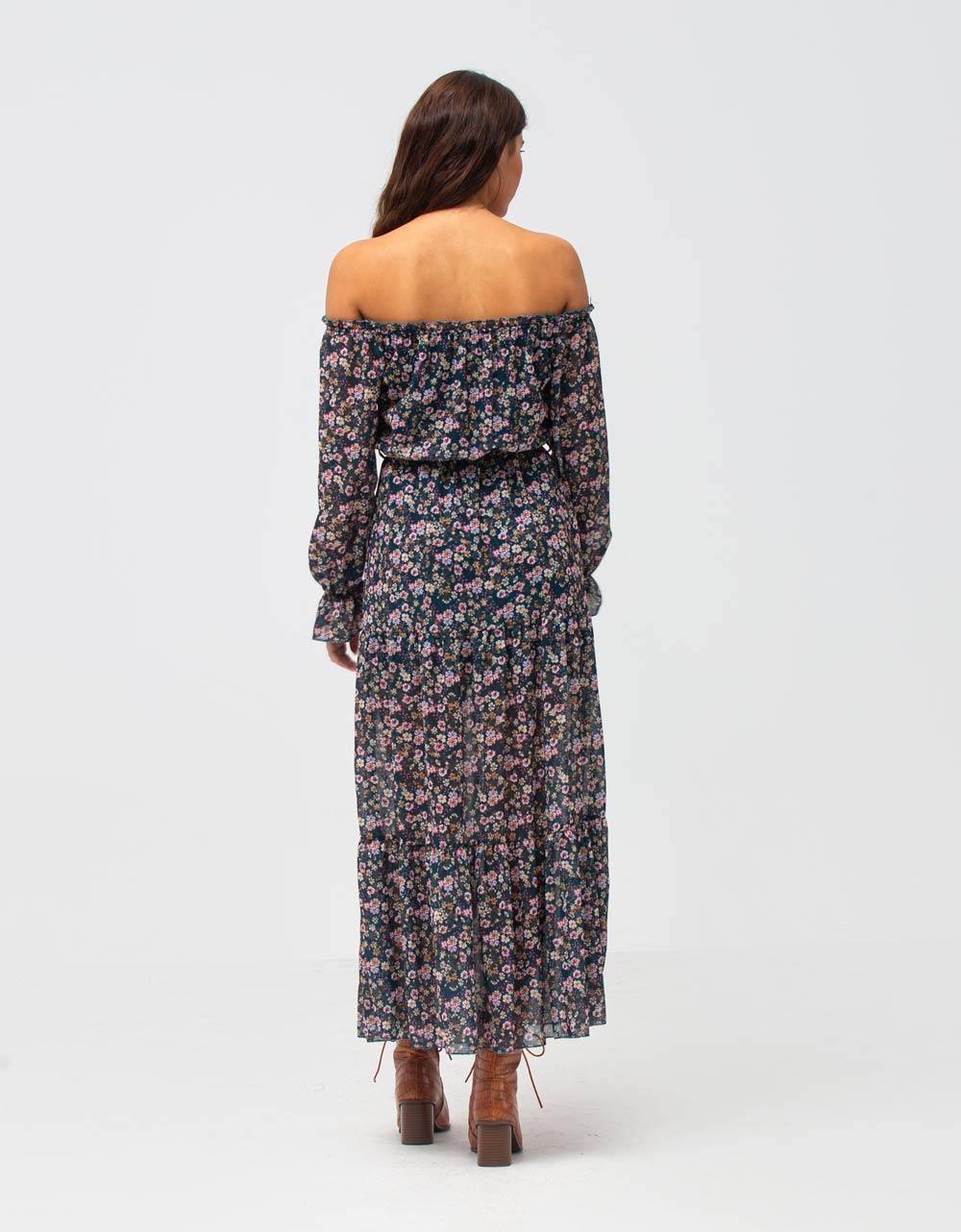 Εικόνα από Γυναικείο φόρεμα φλοράλ με βολάν Μπλε