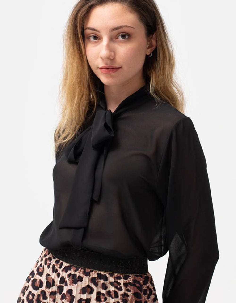 Εικόνα από Γυναικείο πουκάμισο διάφανο Μαύρο
