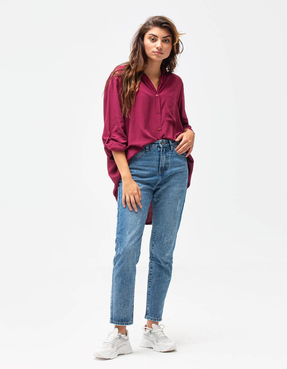 Εικόνα από Γυναικείο πουκάμισο ριχτό Μπορντώ