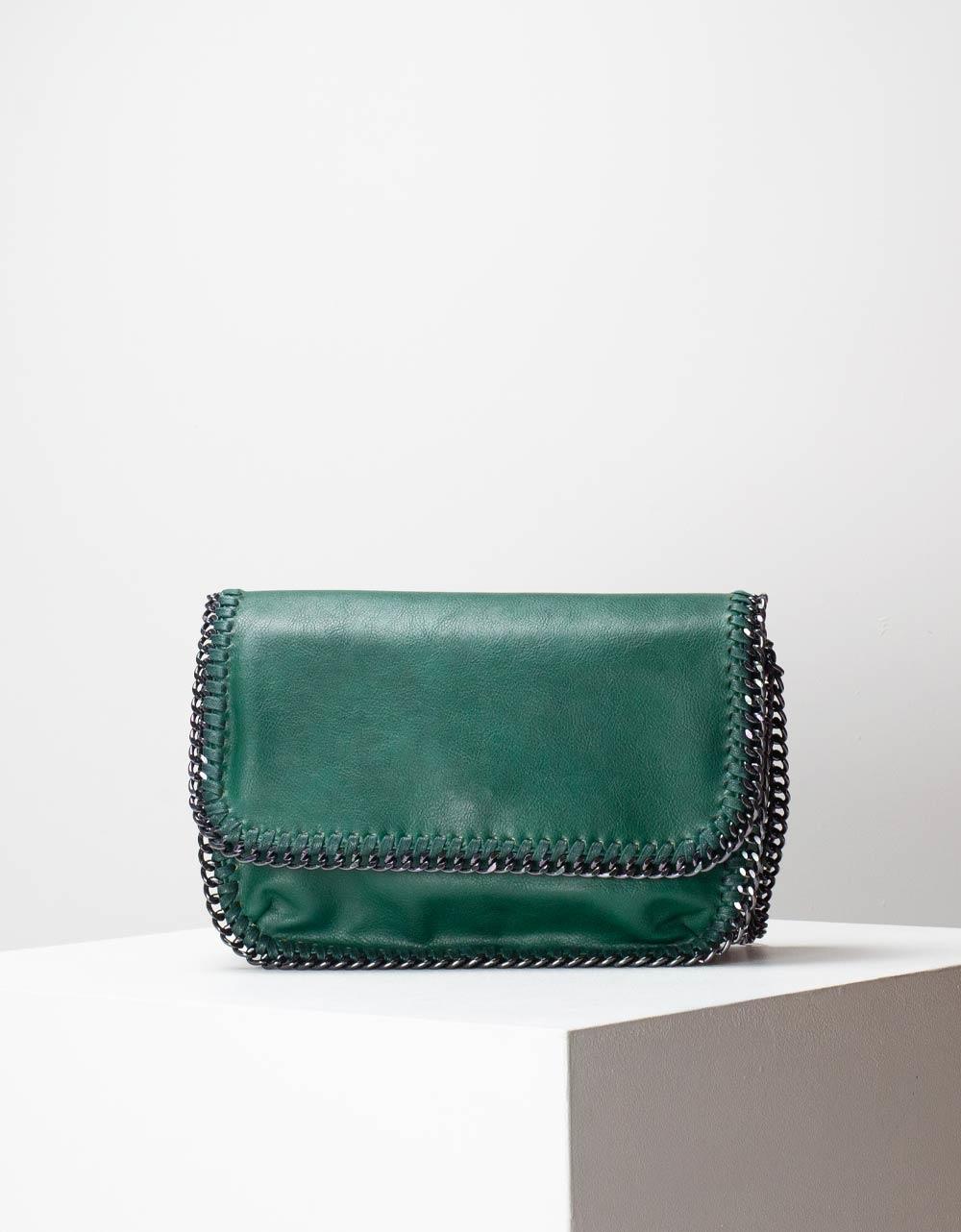 Εικόνα από Γυναικεία τσάντα ώμου & χιαστί με διακοσμητική αλυσίδα Πράσινο