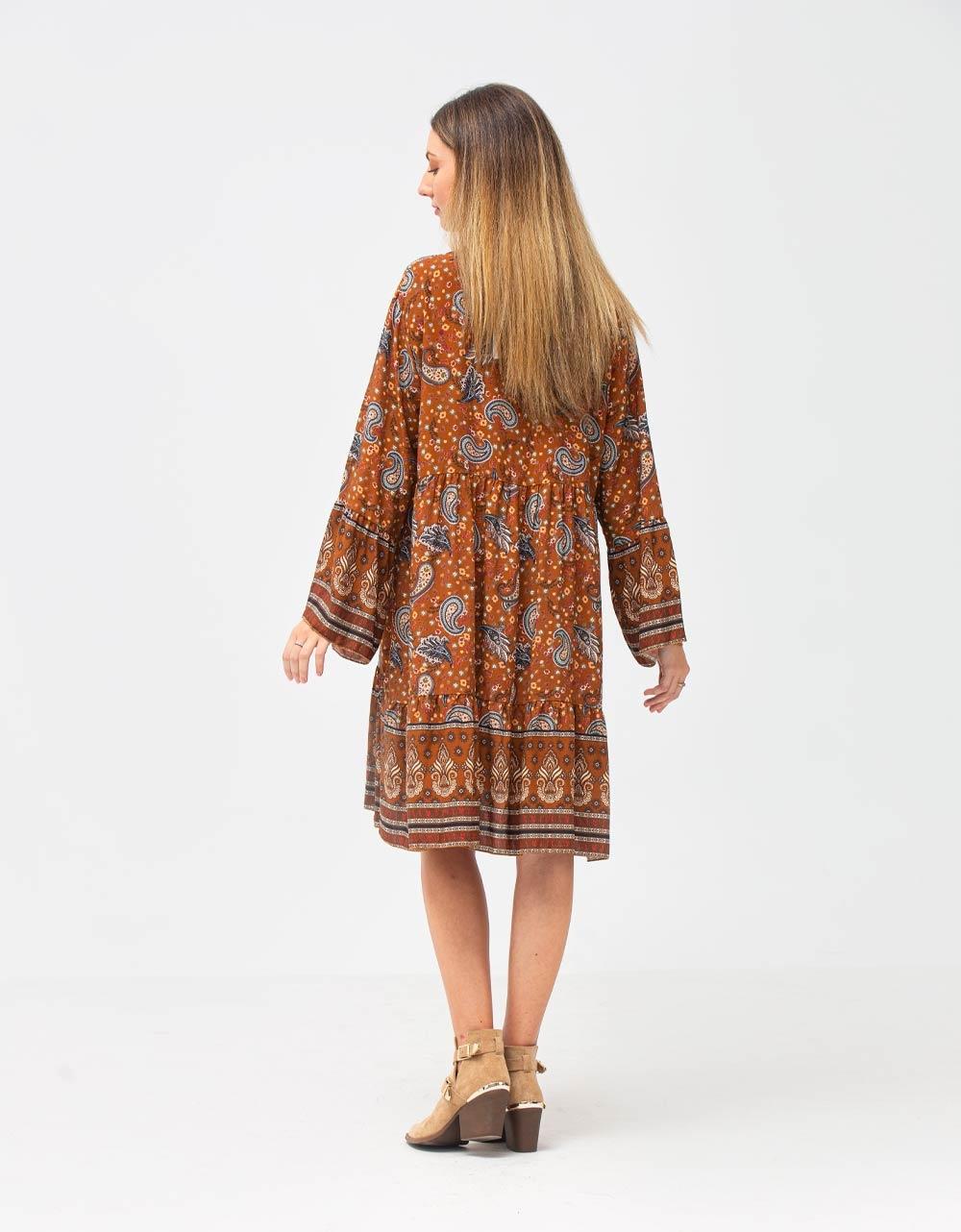 Εικόνα από Γυναικείο φόρεμα βολάν με σχέδια Καφέ