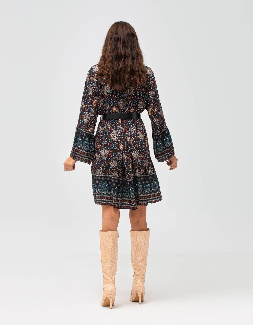 Εικόνα από Γυναικείο φόρεμα βολάν με σχέδια Μαύρο