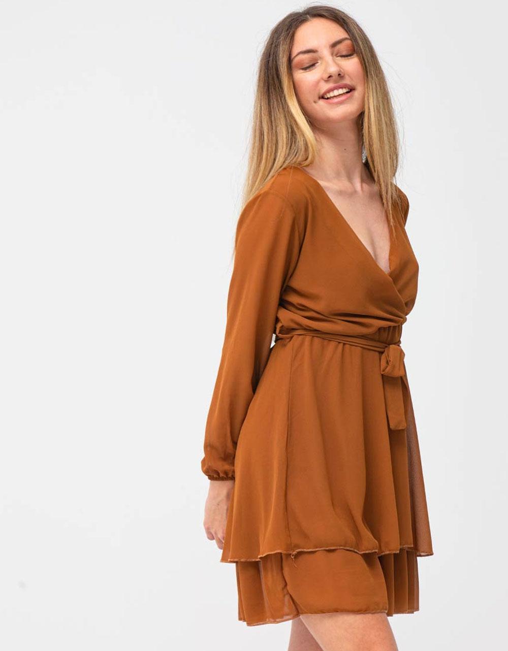 Εικόνα από Γυναικείο φόρεμα με ζωνάκι Καφέ