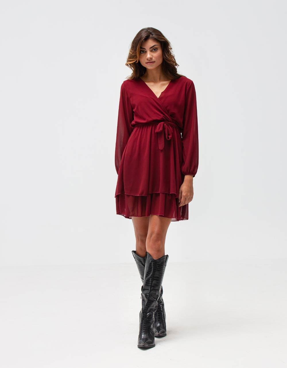 Εικόνα από Γυναικείο φόρεμα με ζωνάκι Μπορντώ