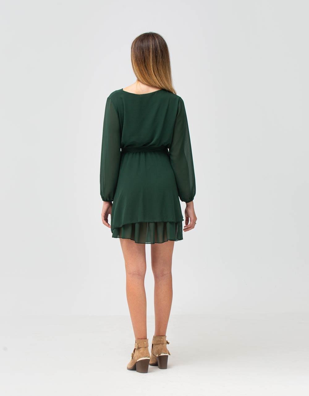Εικόνα από Γυναικείο φόρεμα με ζωνάκι Πράσινο