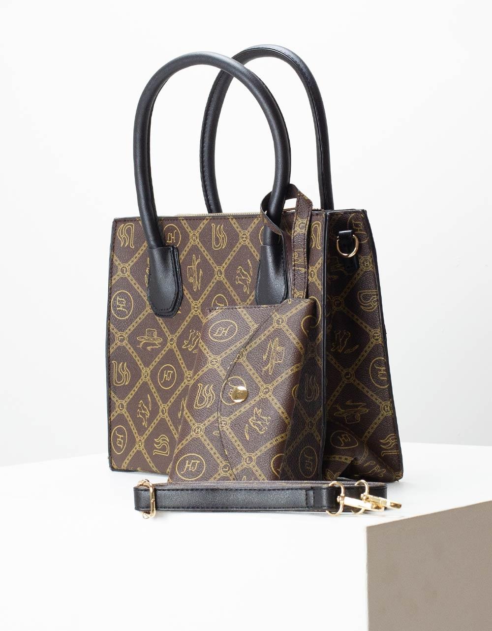 Εικόνα από Γυναικεία τσάντα χειρός με ξεχωριστό τσαντάκι Καφέ/Μαύρο