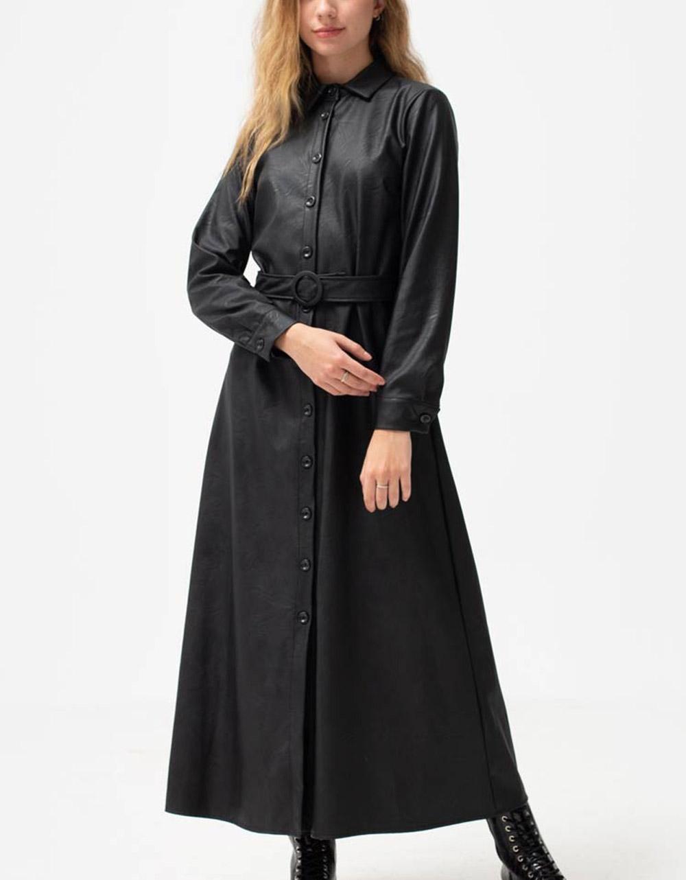 Εικόνα από Γυναικείο φόρεμα με κουμπιά Μαύρο