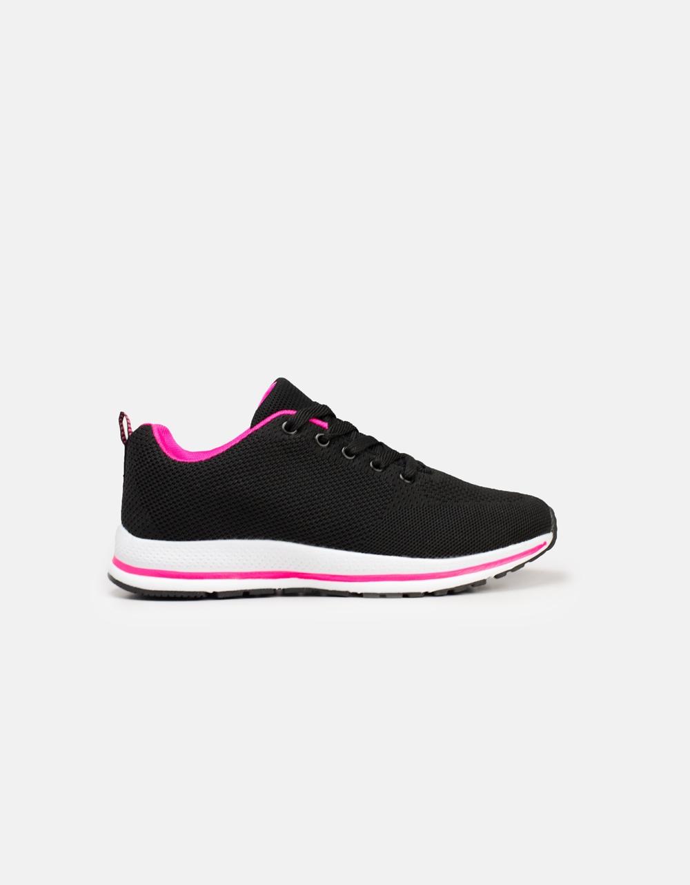 Εικόνα από Γυναικεία sneaker με δίχρωμες λεπτομέρειες Μαύρο/Ροζ