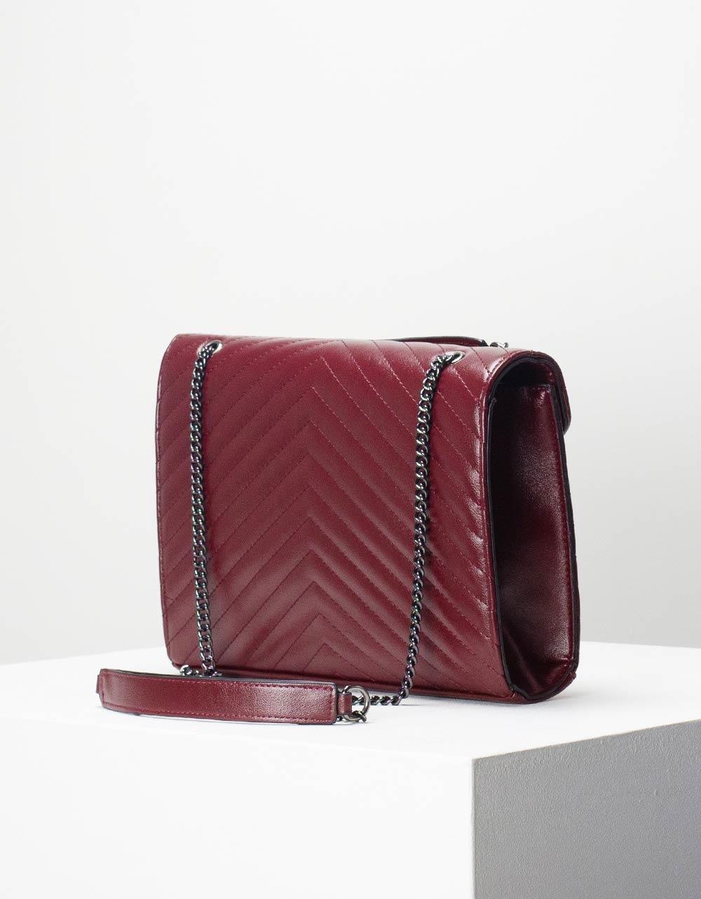 Εικόνα από Γυναικεία τσάντα ώμου & χιαστί μονόχρωμη Μπορντώ