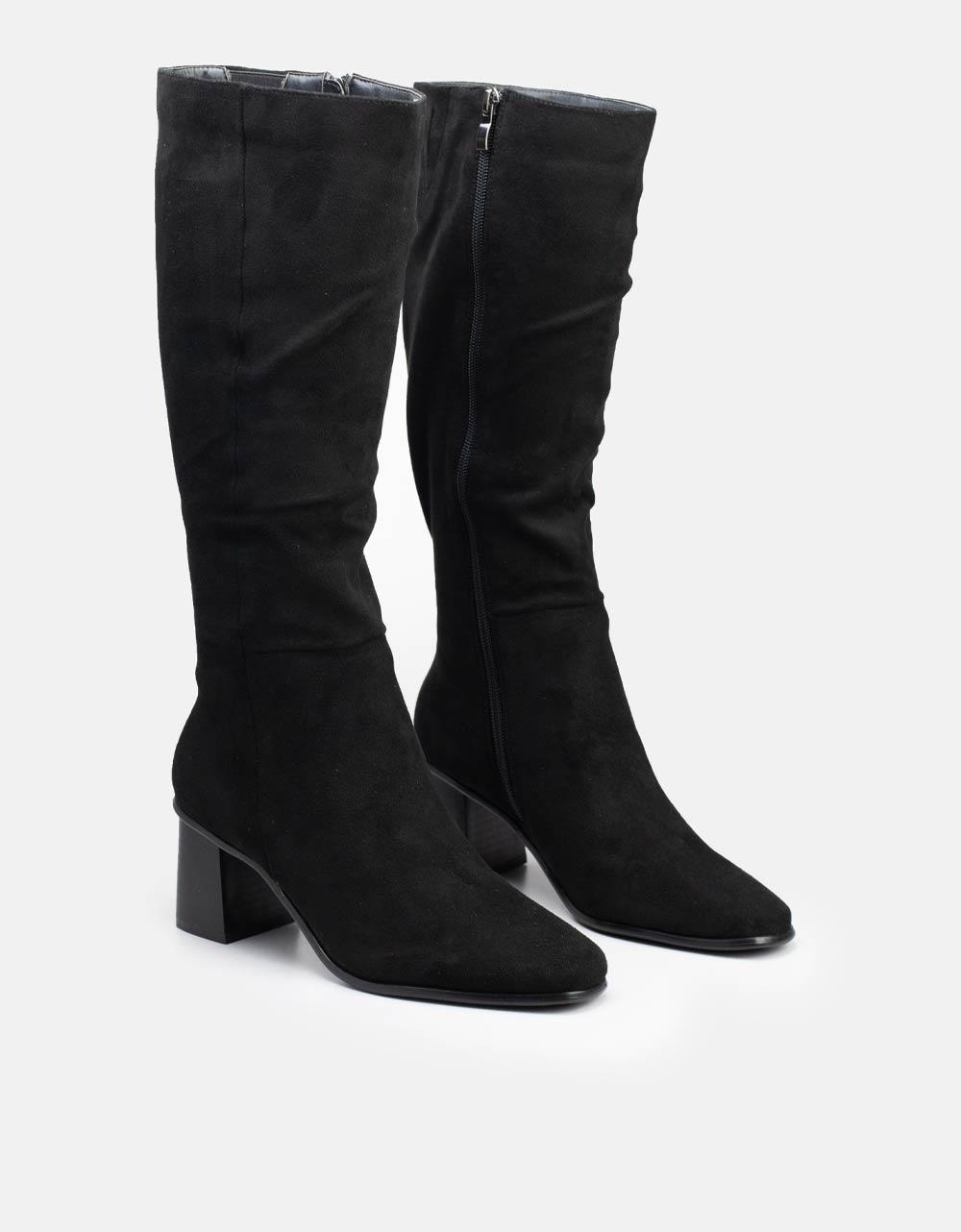 Εικόνα από Γυναικείες μπότες suede με τετράγωνο τακούνι Μαύρο