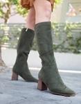 Εικόνα από Γυναικείες μπότες suede με τετράγωνο τακούνι Πράσινο