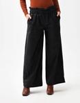 Εικόνα από Γυναικεία παντελόνα με σούρες και καμπάνα Μαύρο
