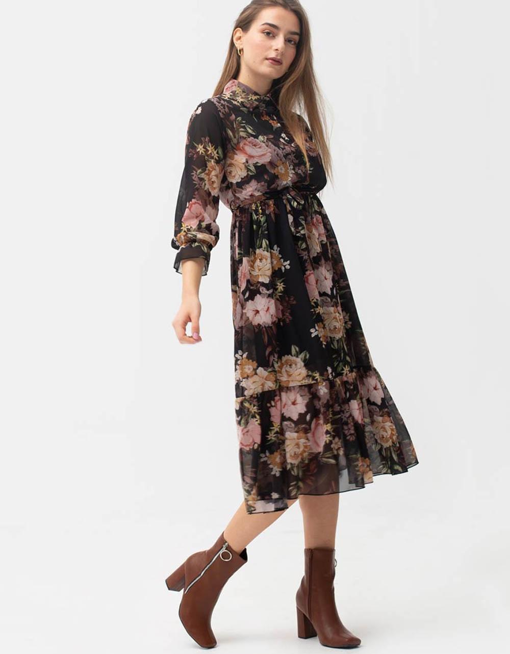 Εικόνα από Γυναικείο φόρεμα μάξι floral Μαύρο