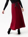 Εικόνα από Γυναικεία φούστα maxi πλισέ με glitters Μπορντώ