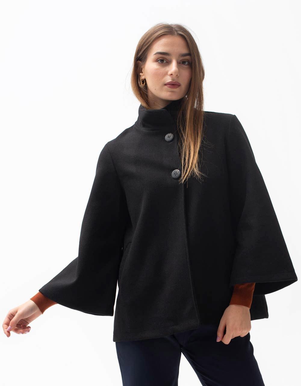 Εικόνα από Γυναικείο πανωφόρι με κουμπιά Μαύρο