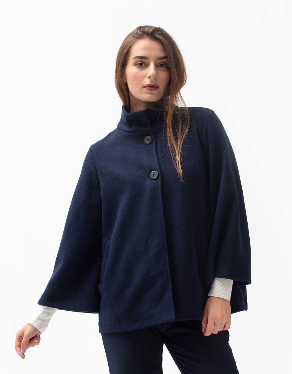 Εικόνα από Γυναικείο πανωφόρι με κουμπιά Μπλε