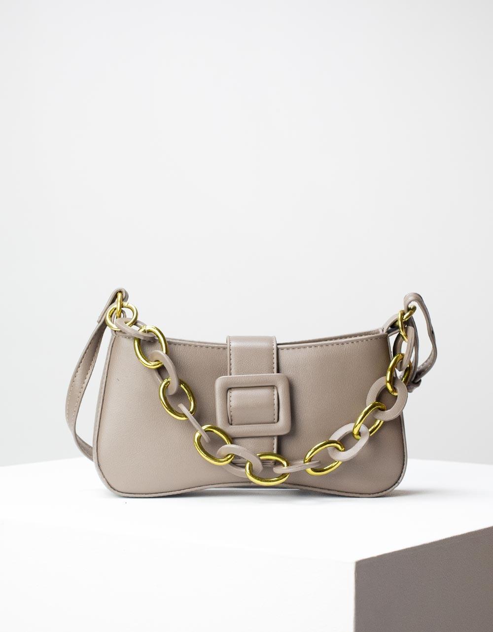 Εικόνα από Γυναικεία τσάντα ώμου & χιαστί με στρογγυλά λουράκια Γκρι