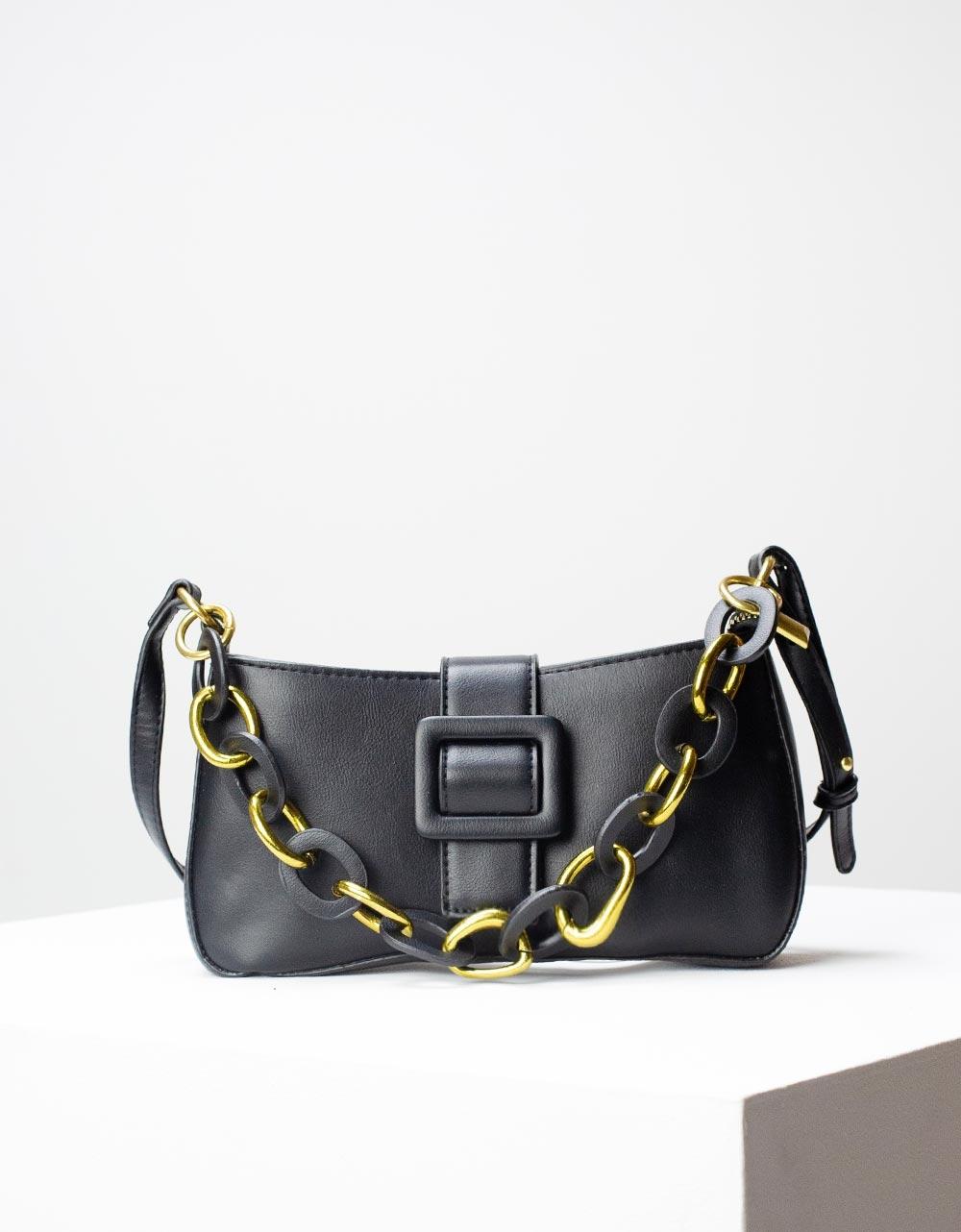 Εικόνα από Γυναικεία τσάντα ώμου & χιαστί με στρογγυλά λουράκια Μαύρο