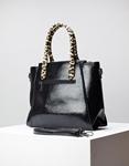 Εικόνα από Γυναικεία τσάντα χειρός με λεοπάρ χειρολαβή Μαύρο