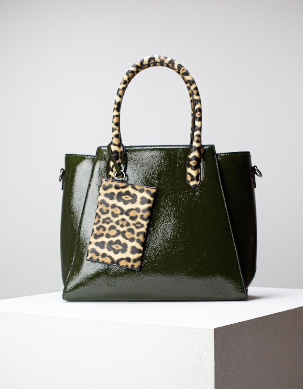 Εικόνα από Γυναικεία τσάντα χειρός με λεοπάρ χειρολαβή Πράσινο