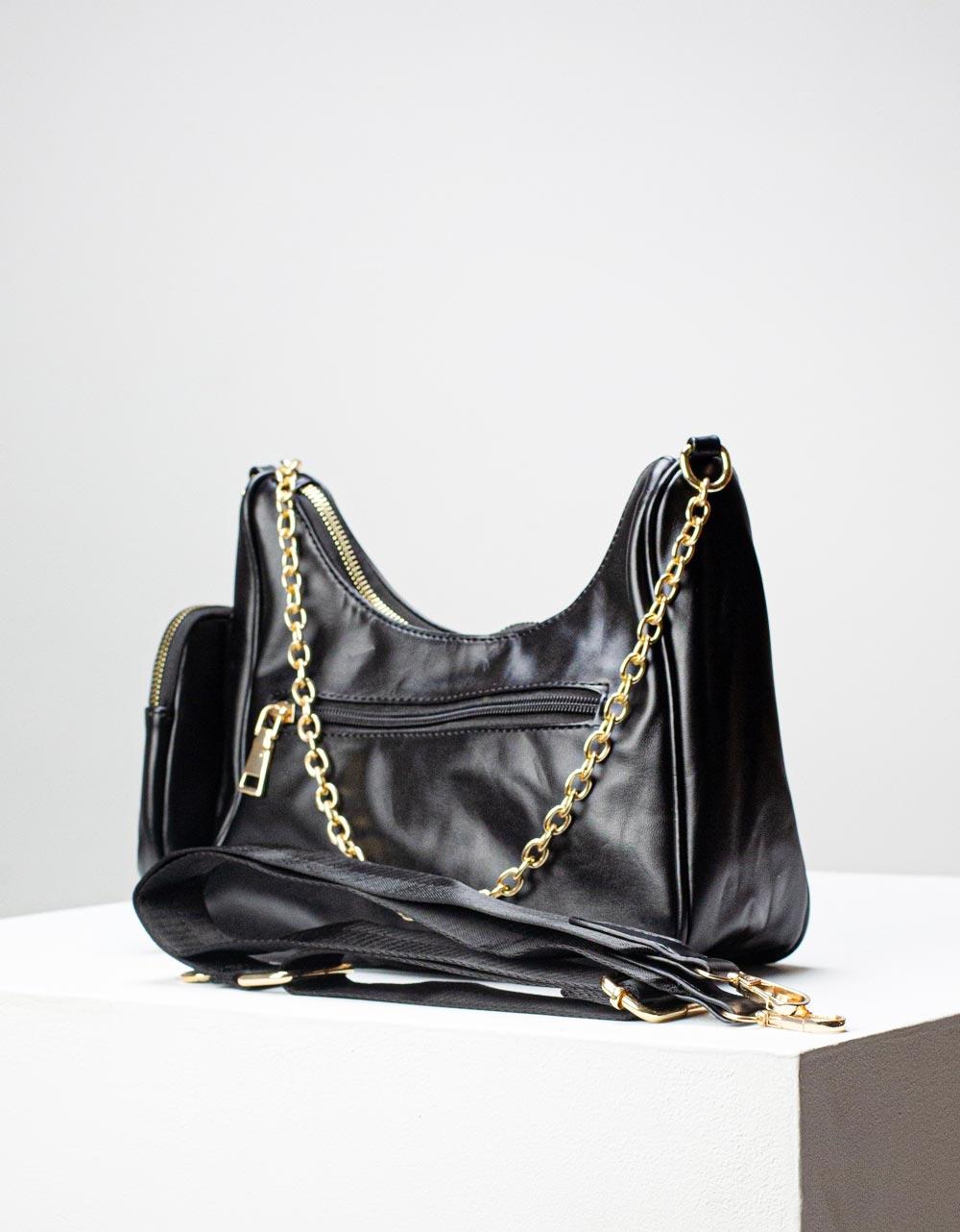 Εικόνα από Γυναικεία τσάντα ώμου & χιαστί με αλυσίδα και πορτοφόλι Μαύρο