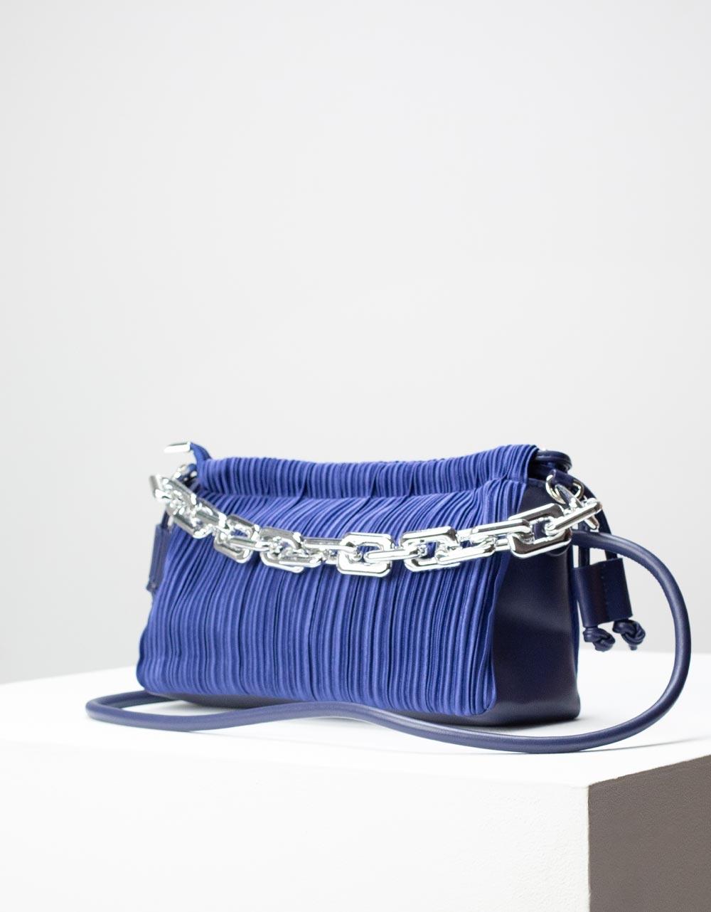 Εικόνα από Γυναικεία τσάντα ώμου & χιαστί με υφασμάτινο μοτίβο Navy