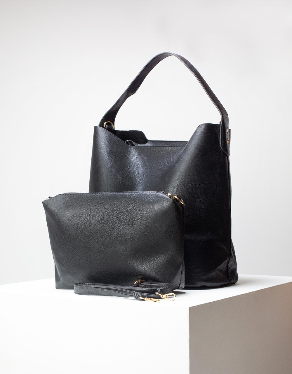 Εικόνα από Γυναικεία τσάντα ώμου με εσωτερικό τσαντάκι Μαύρο