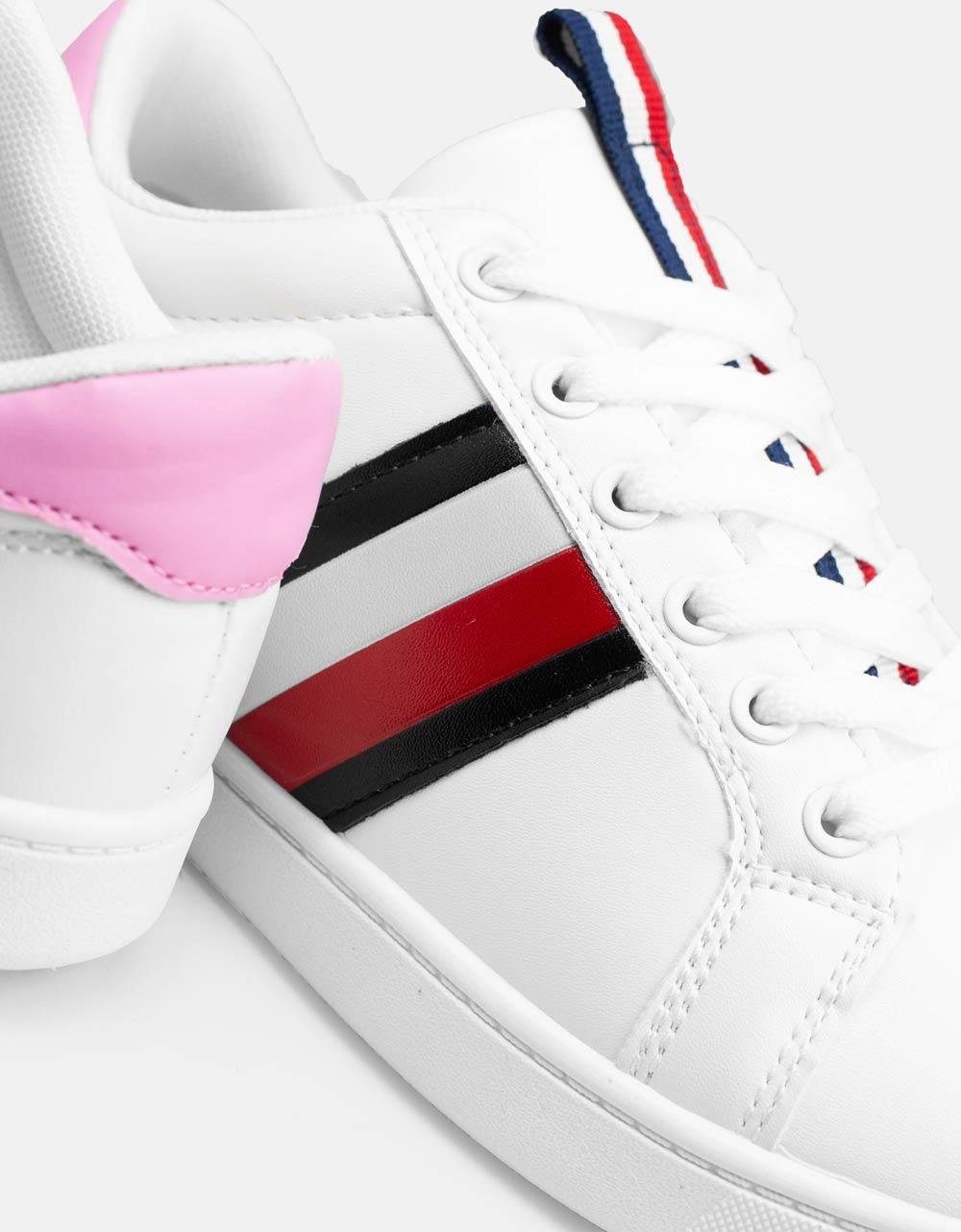 Εικόνα από Γυναικεία sneakers με ρίγες στο πλαϊνό μέρος Λευκό/Ροζ