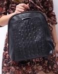 Εικόνα από Γυναικεία σακίδια πλάτης με ανάγλυφο κροκό μοτίβο Μαύρο