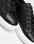 Εικόνα από Γυναικεία sneakers μονόχρωμα με κροκό Μαύρο/Λευκό