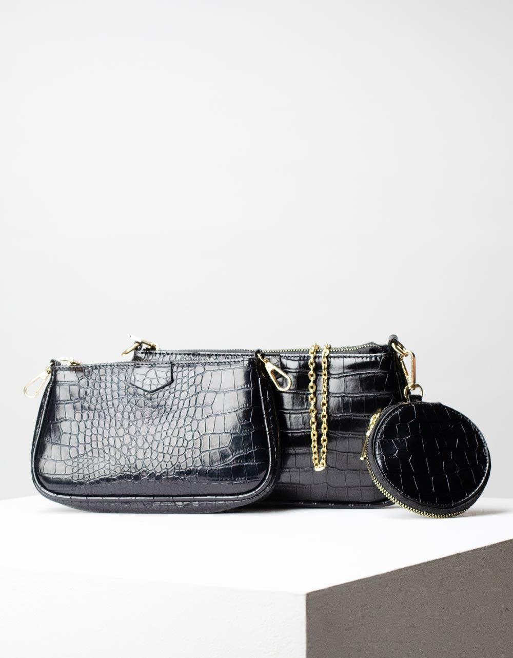 Εικόνα από Γυναικεία τσάντα ώμου & χιαστί με 3 σετ κροκό Μαύρο