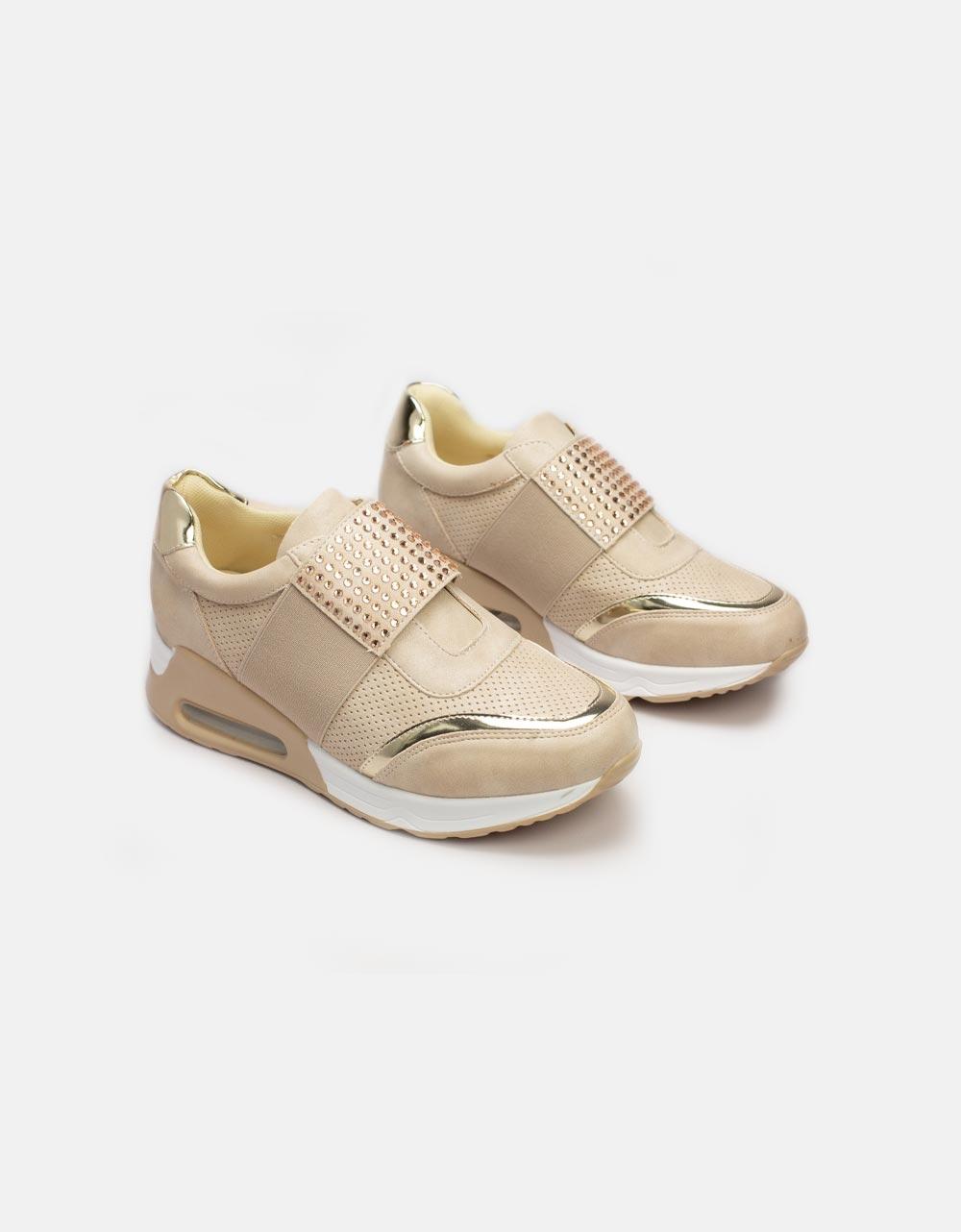 Εικόνα από Γυναικεία sneakers με στρας και μεταλιζέ λεπτομέρειες Μπεζ