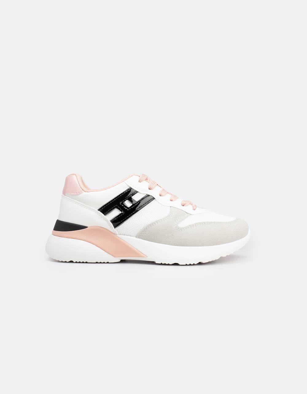 Εικόνα από Γυναικεία sneakers με δίχρωμες λεπτομέρειες Λευκό/Ροζ