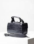Εικόνα από Γυναικεία τσάντα ώμου & χιαστίμε κροκό σχέδιο Μαύρο