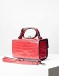 Εικόνα από Γυναικεία τσάντα ώμου & χιαστίμε κροκό σχέδιο Μπορντώ