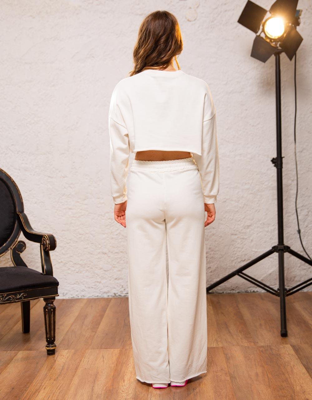 Εικόνα από Γυναικείο παντελόνι καμπάνα Λευκό