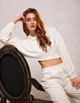 Εικόνα από Γυναικεία μπλούζα crop top φούτερ Λευκό