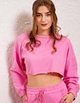 Εικόνα από Γυναικεία μπλούζα crop top φούτερ Ροζ