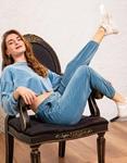 Εικόνα από Γυναικείο παντελόνι βελουτέ με λάστιχο Σιέλ