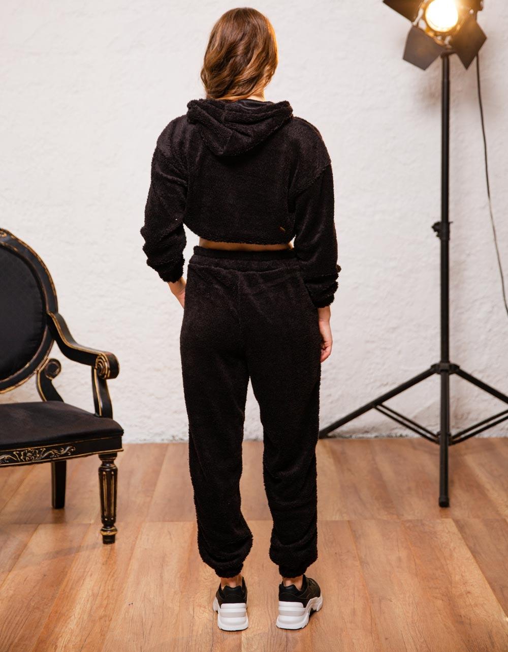 Εικόνα από Γυναικείο παντελόνι με τσέπες φούτερ Μαύρο