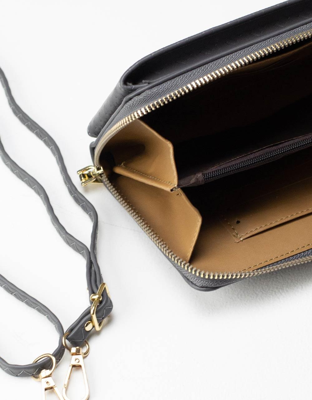 Εικόνα από Γυναικεία πορτοφόλια με εξωτερική θήκη κινητού Γκρι